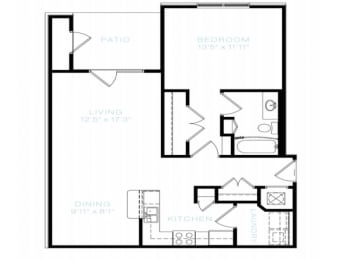 One Bedroom | One Bathroom Floor Plan at The Standard at Whitehouse, Whitehouse