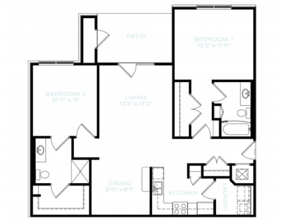 Floor Plan  Two Bedroom   Two Bathroom Floor Plan at The Standard at Whitehouse, Tennessee