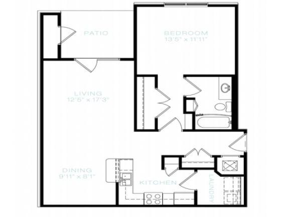 Floor Plan  One Bedroom   One Bathroom Floor Plan at The Standard at Whitehouse, Whitehouse