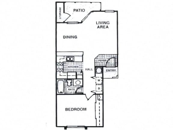 Floor Plan  One bedroom apartment at Fisherman's Landing in Ormond Beach, FL