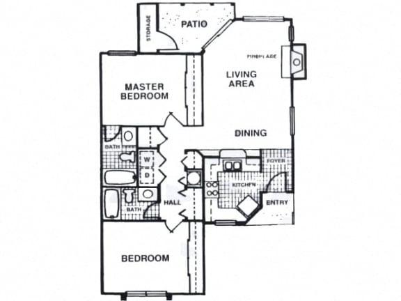 Floor Plan  Two bedroom apartment at Fisherman's Landing in Ormond Beach, FL