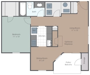 Floor Plan One Bedroom One Bathroom (No Den)