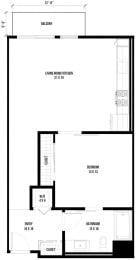 1B2 – 1 Bedroom 1 Bath Floor Plan Layout – 784 Square Feet