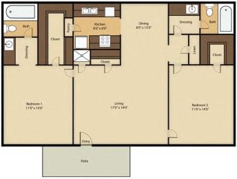 Floor Plan 2 Bed 2 Bath