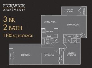 3 BR, 2 Bath Floor Plan at Pickwick Farms Apartments, Indianapolis, Indiana