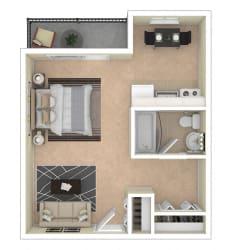 2112 New Hampshire Ave Apts Studio floor plan