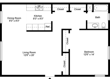 One Bedroom Apartment at Chili Heights Apartments, Rochester, NY
