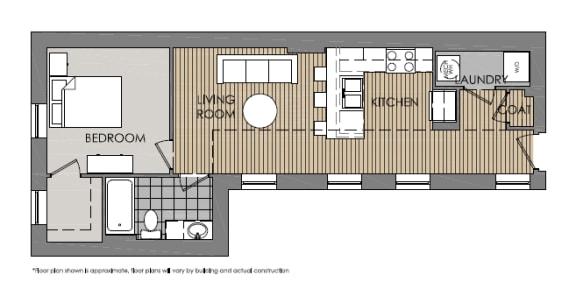 Floor Plan  1 Bedroom 1 Bath 2D Floorplan-Mercer Commons Apartments Cincinnati, OH