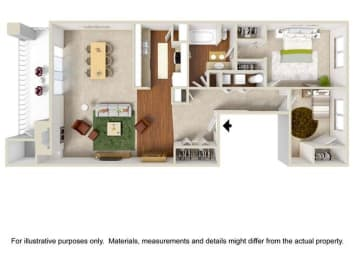 2 Bed 1 Bath Flat B Floor Plan at Haven at Charbonneau, Wilsonville, OR