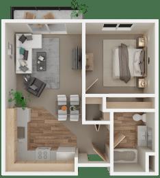 Floor Plan 1 Bed 1 Bath | Age 55+