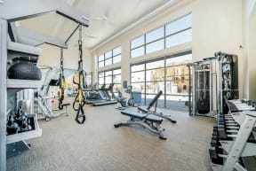 Apartments in Folsom for Rent - Hub Apartments - Fitness Center with Free Weights, Cardio Machines, Benches