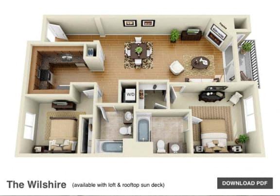 Floor Plan  The Wilshire 2 Bedroom 2 Bath 3D Floor Plan at The Verandas, Canoga Park, CA