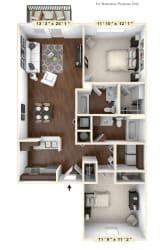 The Lancaster - 2 BR 2 BA Floor Plan at River Crossing Apartments, Missouri, 63303