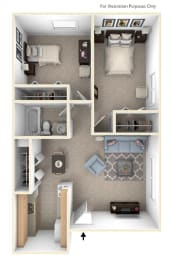 2 Bed 1 Bath Spanish Two Bedroom Floor Plan at Old Monterey Apartments, Springfield, MO, 65807