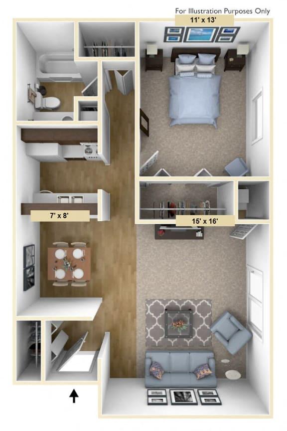 Floor Plan  Devonshire One Bedroom Floor Plan at Windsor Place, Davison, Michigan