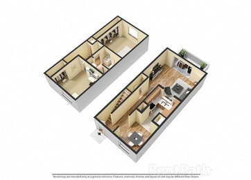 2 Bedroom Townhome Floor Plan Available at Lake Camelot Apartments, Indianapolis, Indiana
