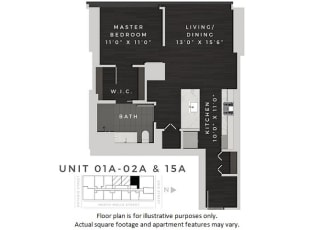 One Bedroom 01A +02A + 15A Floor Plan at 640 North Wells, Chicago, 60654