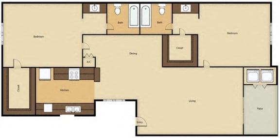 Floor Plan  2BR, 2BTH - D