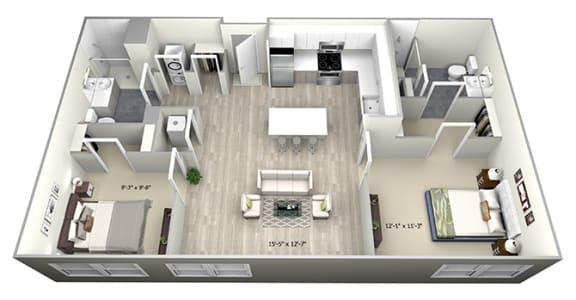 Floor Plan  2 Bed 2 Bath TrubC Floor Plan at 735 Truman, Hyde Park