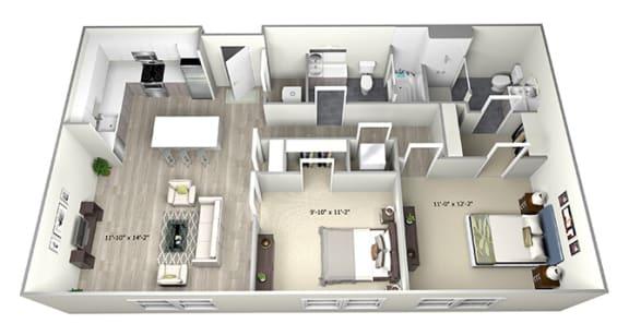 Floor Plan  2 Bed 2 Bath TrubA Floor Plan at 735 Truman, Hyde Park, 02136