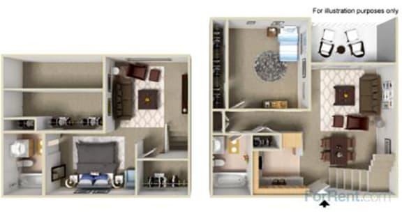 Floor Plan  Point Bonita Apartment Homes - 2 Bedroom 2 Bath Townhome