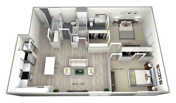 Floor Plan  2 Bed 2 Bath TrubE Floor Plan at 735 Truman, Massachusetts, 02136