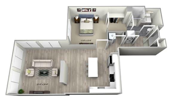 Floor Plan  1 Bed 1 Bath TruaO Floor Plan at 735 Truman, Hyde Park, MA