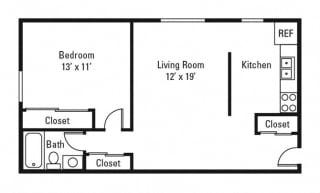 Floor Plan 1 Bedroom, 1 Bath 625 sq. ft.