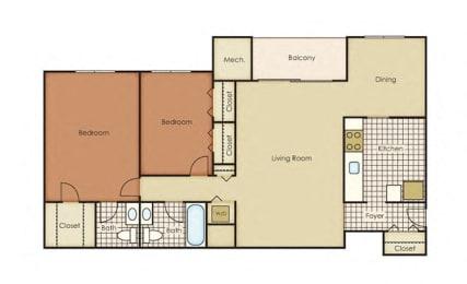 Pines of York Apartment Homes - 2 Bedroom 1.5 Bath Apartment