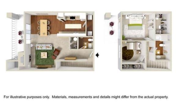 Floor Plan  2 Bed 1.5 Bath Townhome Floor Plan at Haven at Charbonneau, Wilsonville, 97070