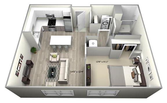 Floor Plan  1 Bed 1 Bath TruaD Floor Plan at 735 Truman, Massachusetts, 02136