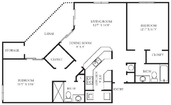 Floor Plan  Bristol | 2 Bedroom | 2 Bath | 1,068 Sq.Ft. at Winthrop West Apartment Homes, Florida