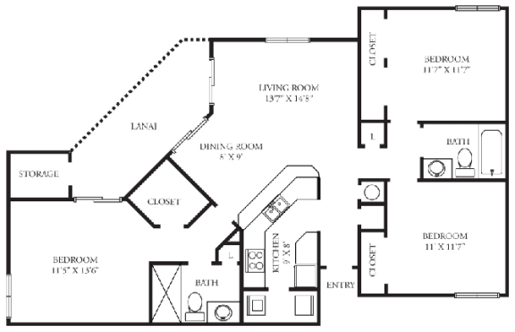 Floor Plan  Chelsea | 3 Bedroom | 2 Bath | 1,221 Sq.Ft. at Winthrop West Apartment Homes, Riverview, FL, 33578