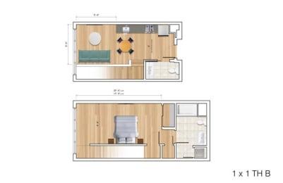Floor Plan  Townhouse 1 Bedroom BK Floor Plan at Block C, San Marcos, 92078