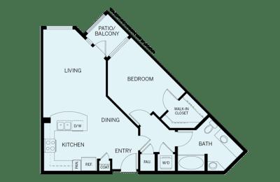 Floor Plan  1 Bed 1 Bath plan A1 Floor Plan at Accent, California