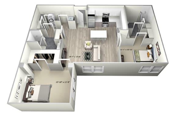 Floor Plan  2 Bed 2 Bath TrubD Floor Plan at 735 Truman, Massachusetts