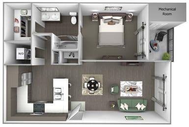 Quinn Crossing - Cataract Creek (A3) - 1 Bedroom - 1 bath - 3D floor plan
