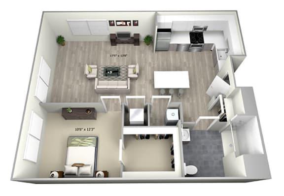 Floor Plan  1 Bed 1 Bath TruaI Floor Plan at 735 Truman, Hyde Park