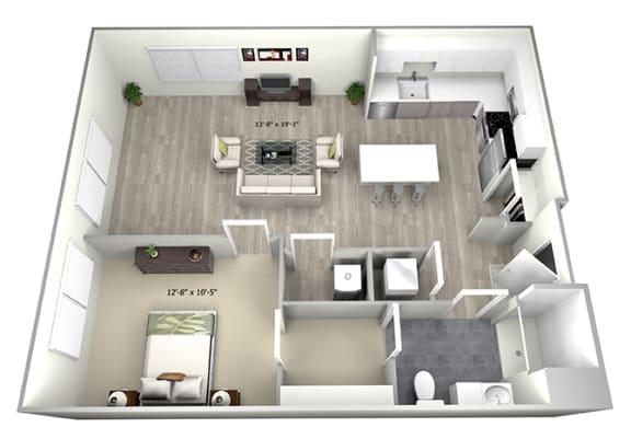 Floor Plan  1 Bed 1 Bath TruaG Floor Plan at 735 Truman, Hyde Park, 02136