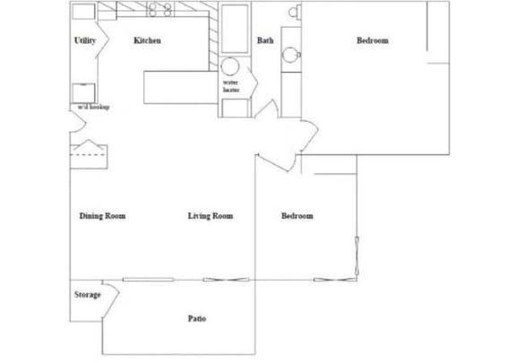 Floor Plan  2 Bed 1 Bath Floor Plan at Columbia Village, Idaho
