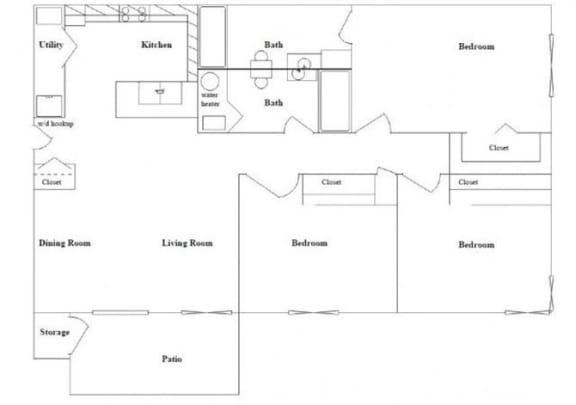 Floor Plan  3 bedroom 2 bathroom Floor Plan at Columbia Village, Boise, ID, 83716