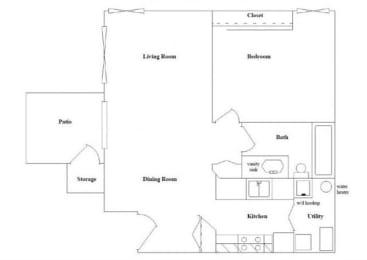 1 Bedroom 1 Bathroom Floor Plan at Columbia Village, Boise