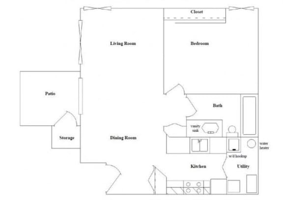 Floor Plan  1 Bedroom 1 Bathroom Floor Plan at Columbia Village, Boise