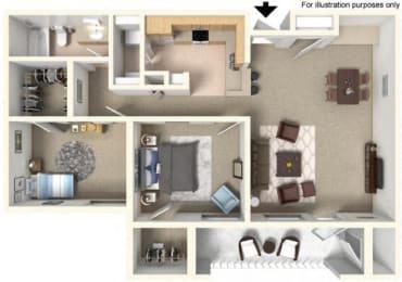 2 Bed - 1 Bath, 950 sq ft, floor plan