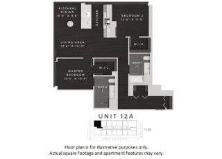 Unit 12A Floor Plan at 640 North Wells, Chicago, Illinois