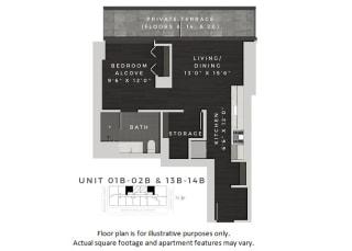 Junior One Bedroom Floor Plan at 640 North Wells, Chicago, Illinois at 640 North Wells, Chicago, IL