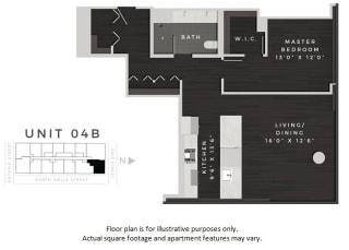 Unit 04B Floor Plan at 640 North Wells, Chicago, IL