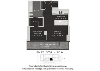Unit 07A-10A Floor Plan at 640 North Wells, Chicago, IL