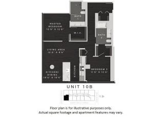 Unit 10B Floor Plan at 640 North Wells, Chicago, IL