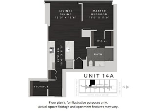 Unit 14A Floor Plan at 640 North Wells, Chicago, Illinois